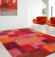 Sally Modern Hand knotted Red Wool Rug